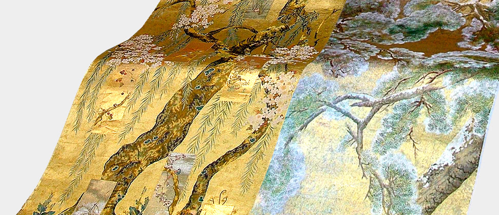 左:酒井抱一「桜図屏風」右:円山応挙「雪松図」